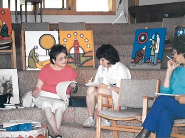 Carmen Rodriguez Facilitating workshops with First Nations literacy instructors, 1990