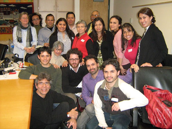 With Radio Canada International colleagues Leonora Chapman, Paloma Martínez, Pablo Gómez Barrios and Christian Sida-Valenzuela, and participants in a special broadcast from Vancouver. February, 2011.